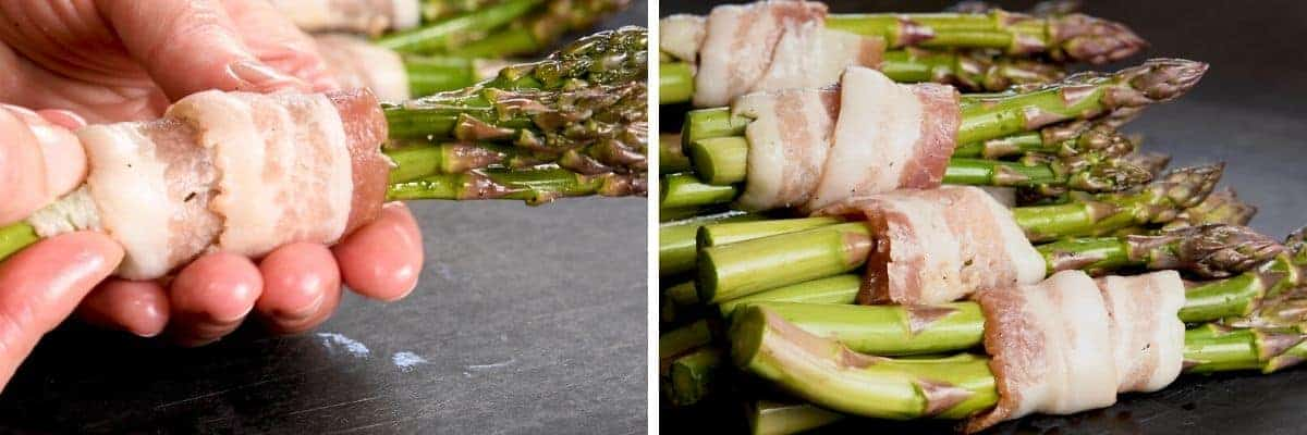 wrapping asparagus in bacon