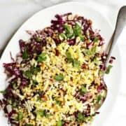 Fregola Sarda Salad served on an oval platter