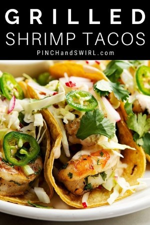 grilled shrimp tacos served on a white platter