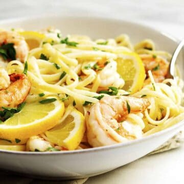 Lemon Garlic Shrimp Pasta served in a white bowl