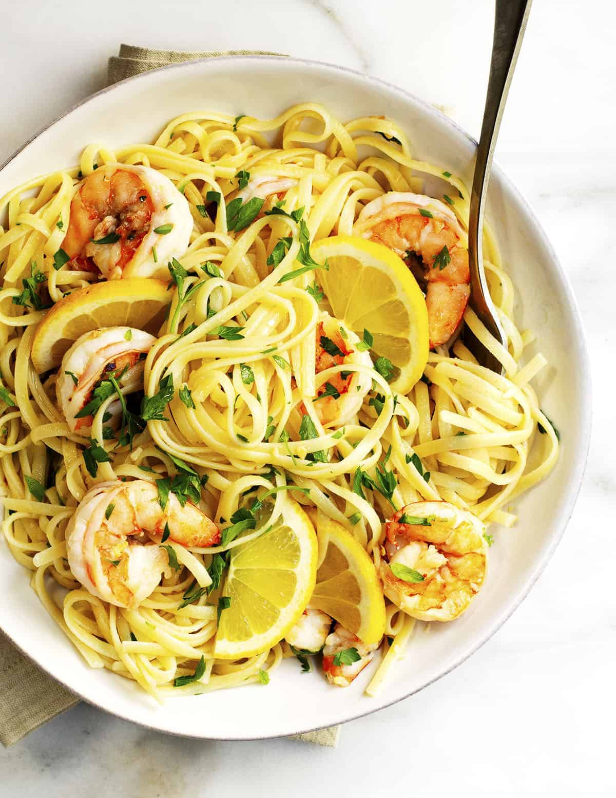 Lemon Garlic Shrimp Pasta served in a white bowl