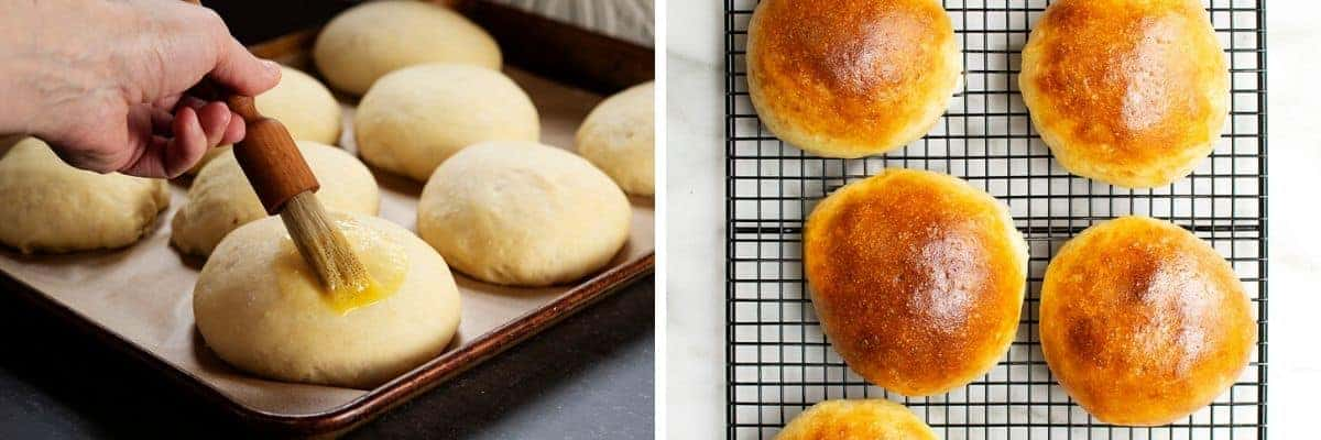 brushing buns with egg wash and baked baked buns on cooling rack