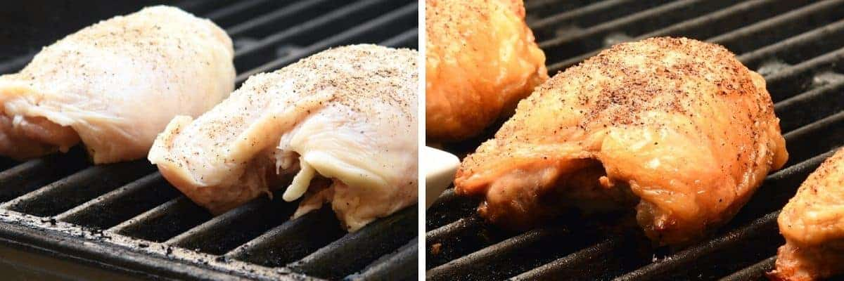 chicken thighs on grill before and after grilling