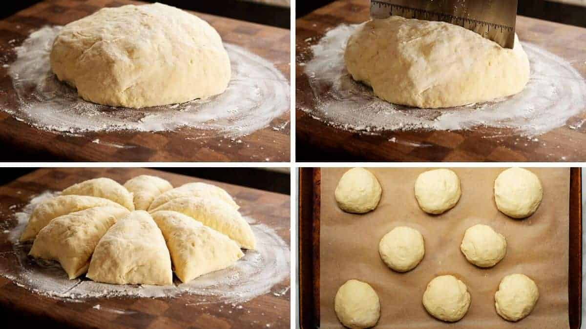 cutting and shaping brioche bun dough