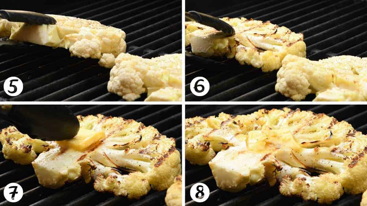 grilling cauliflower steaks and finishing with butter