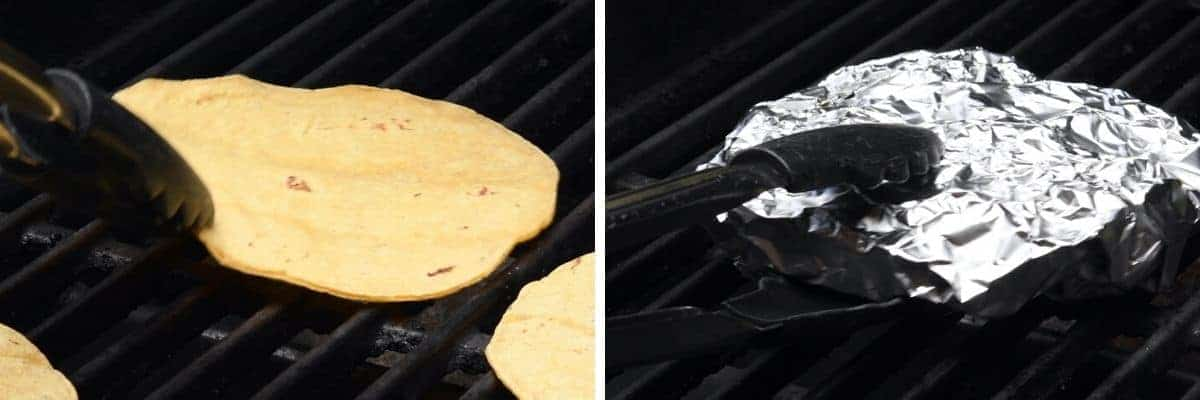 grilling corn tortillas and wrapping them in foil