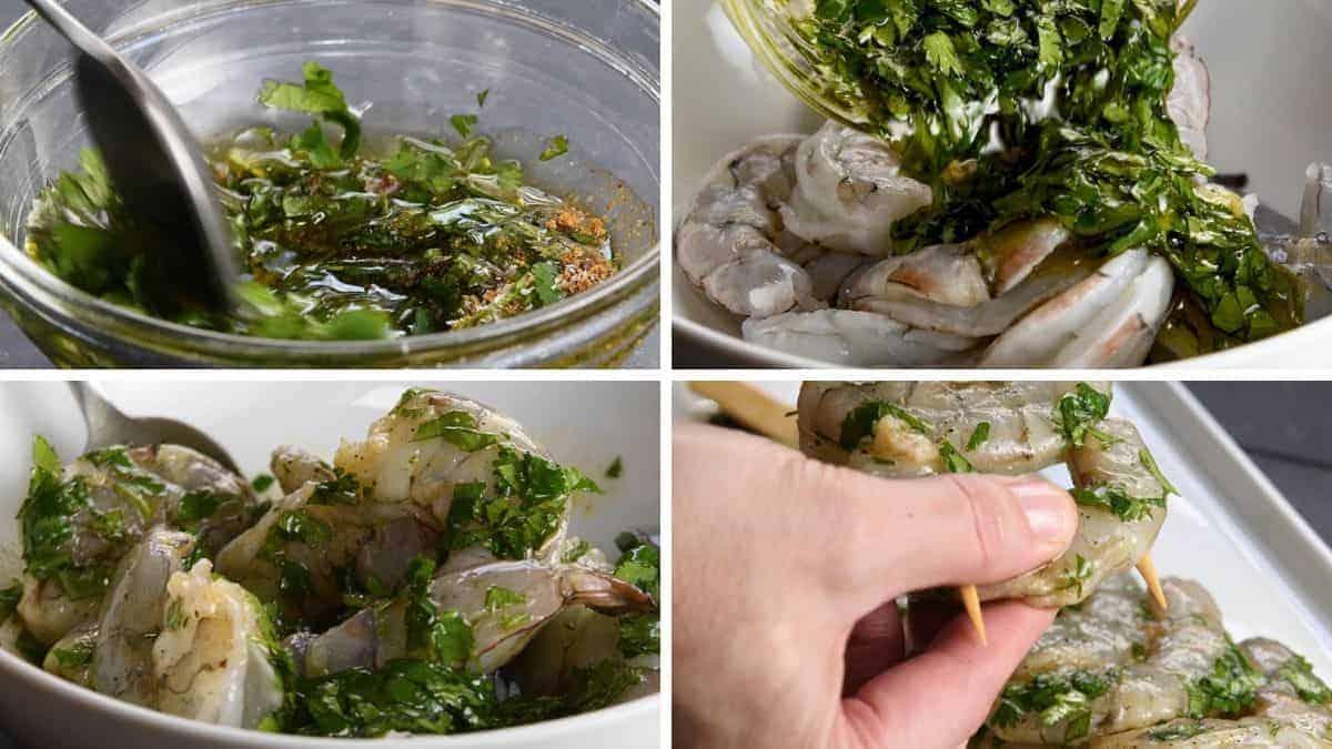 making marinade and stringing shrimp on skewers