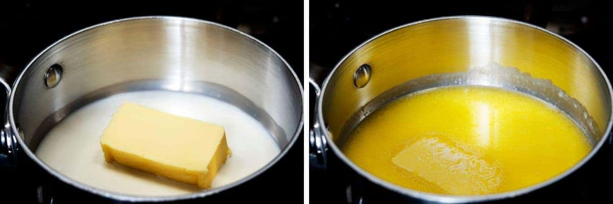 melting butter with milk