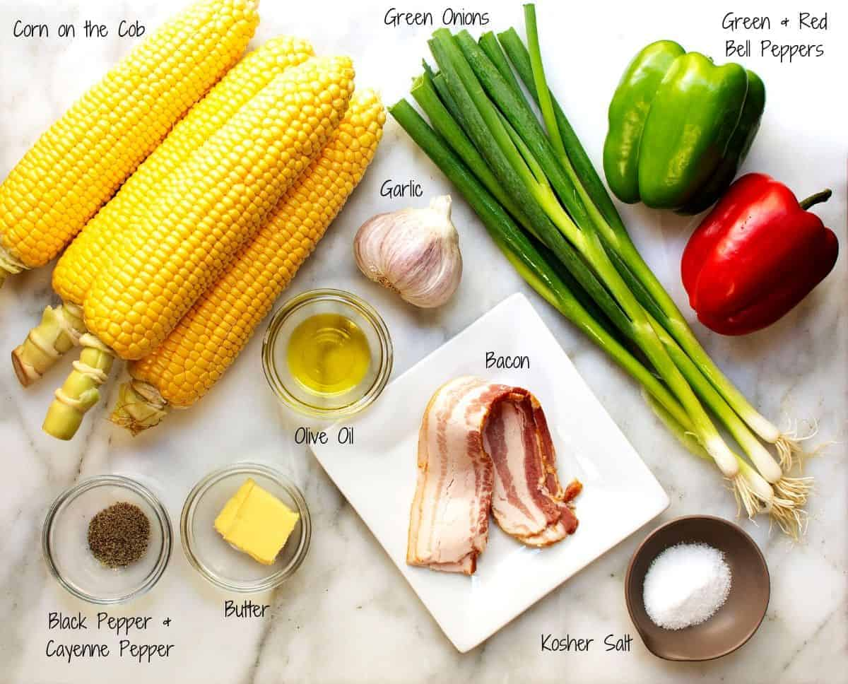 Corn Maque Choux Ingredients on a white marble board