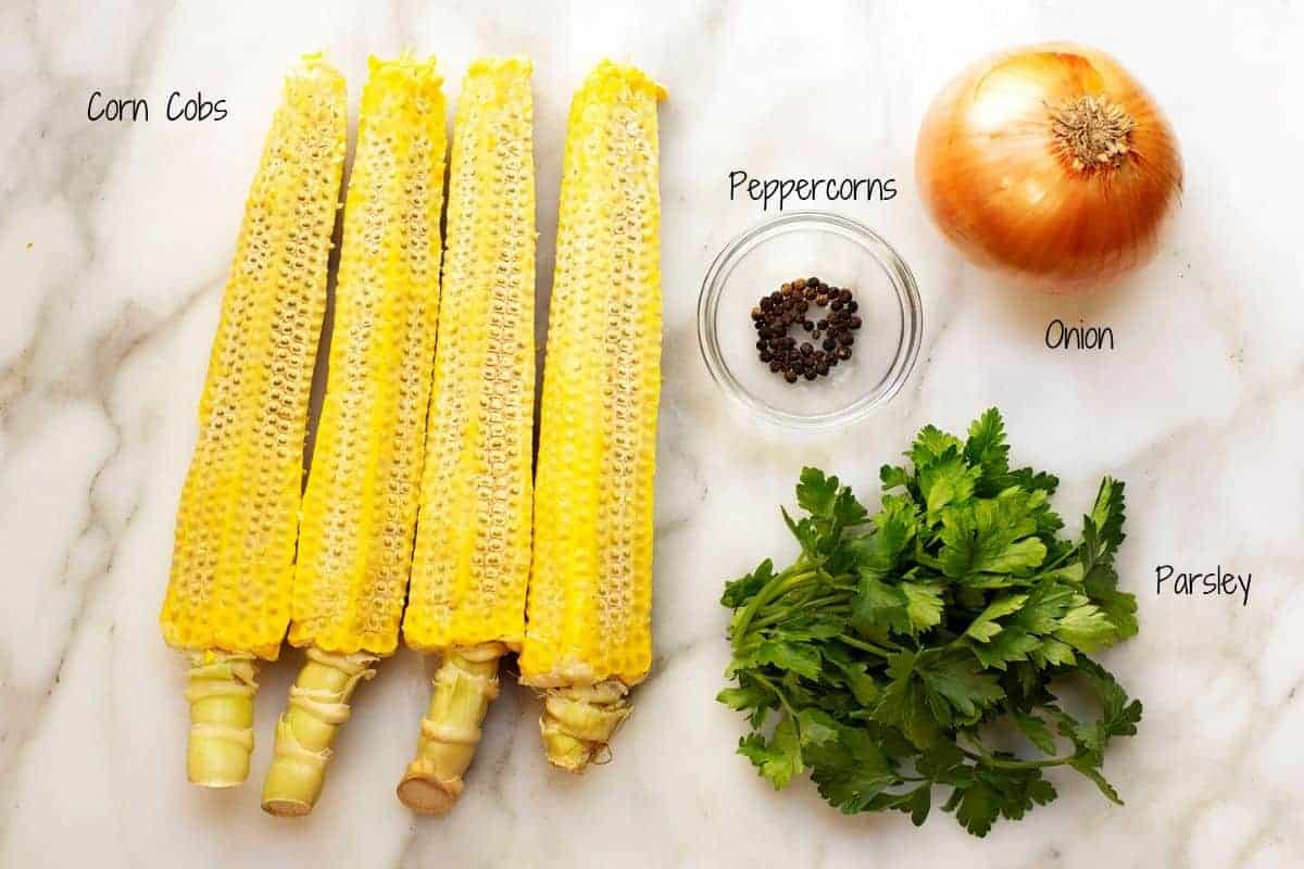 Corn Stock Ingredients on a white marble board