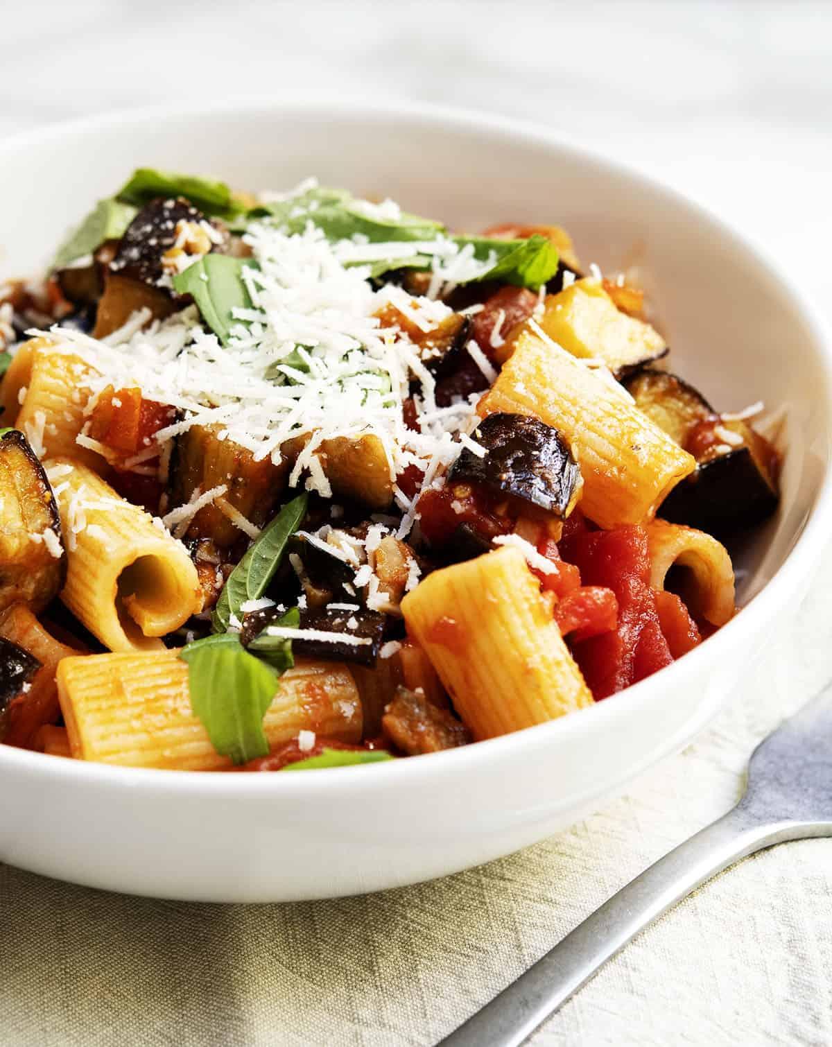 pasta alla norma served in a white bowl