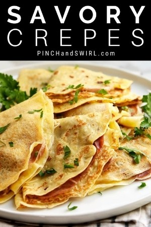 savory crepes served on a white plate