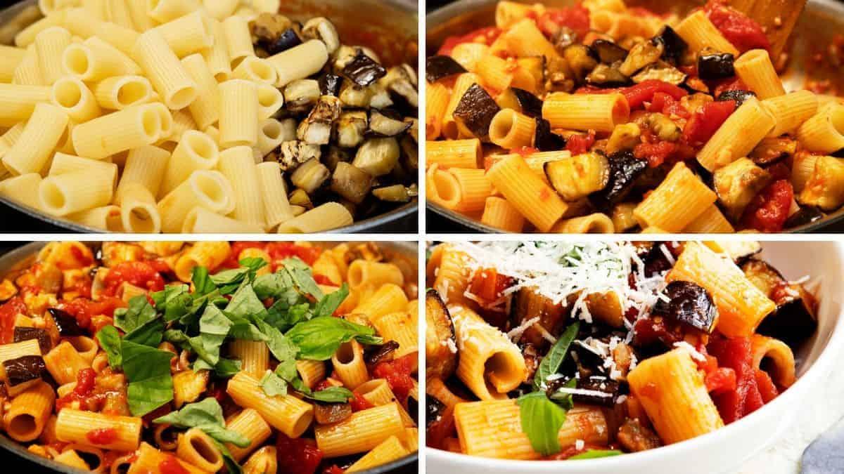 combining all pasta alla norma ingredients