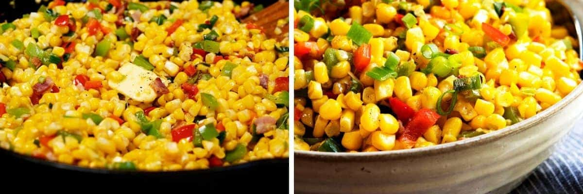 finishing Corn Maque Choux with butter