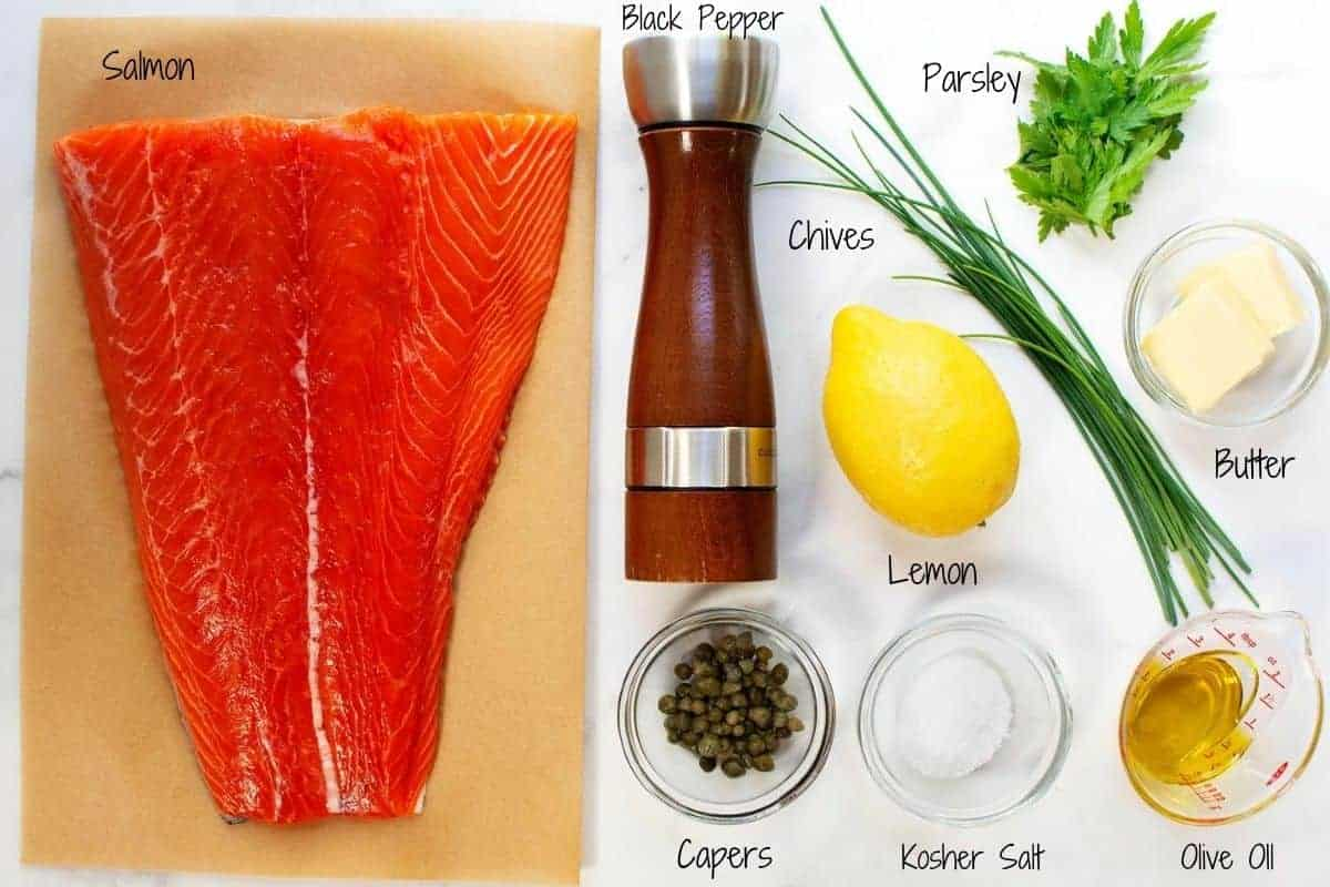 Slow Roasted Salmon Ingredients on a white marble board