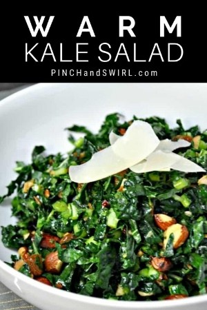warm kale salad served in a white bowl
