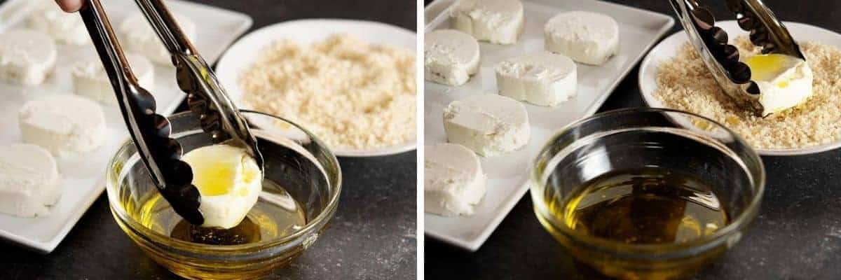 oiling and breading goat cheese rounds