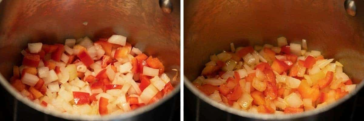 cooking onion and red pepper