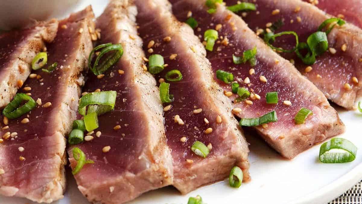 grilled tuna steaks served
