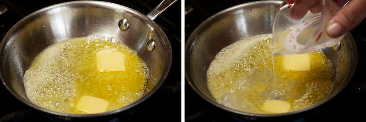 melting butter in skillet and pouring in lemon juice