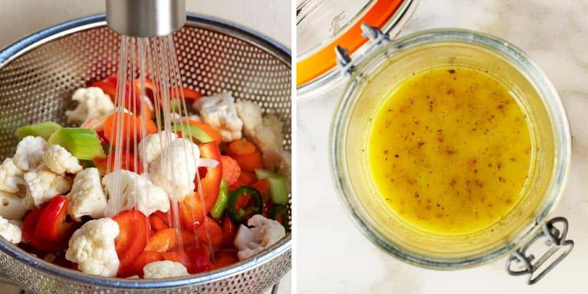 rinsing salt soaked vegetables and jar with giardiniera dressing