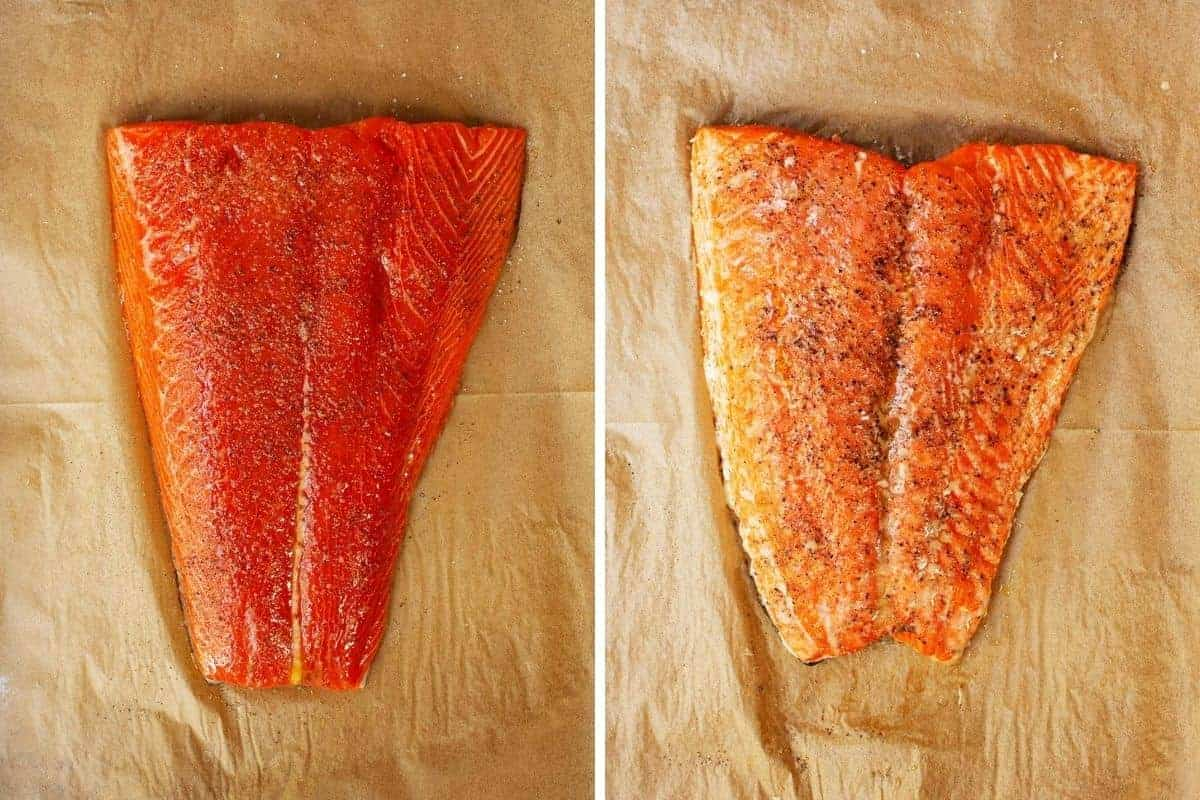 slow roasted salmon before and after baking