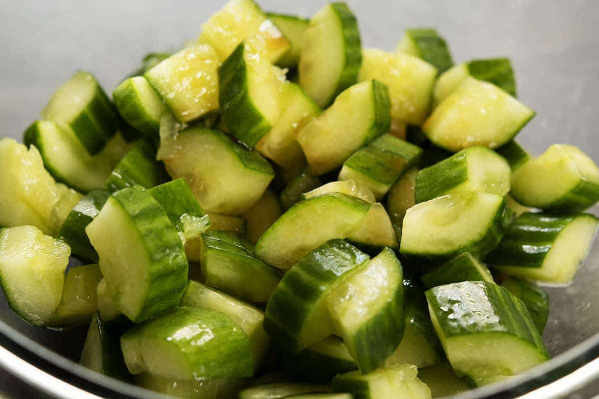 smashed cucumbers tossed with dressing