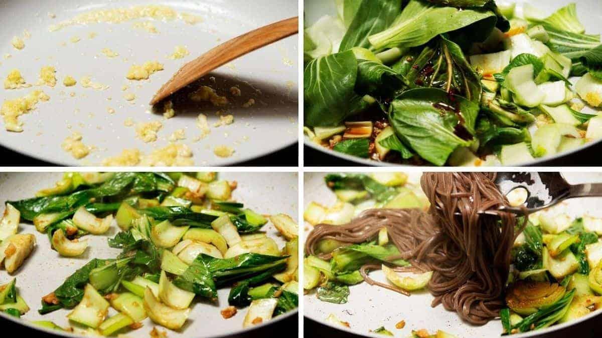 stir frying garlic bok choy and soba noodles in sesame oil