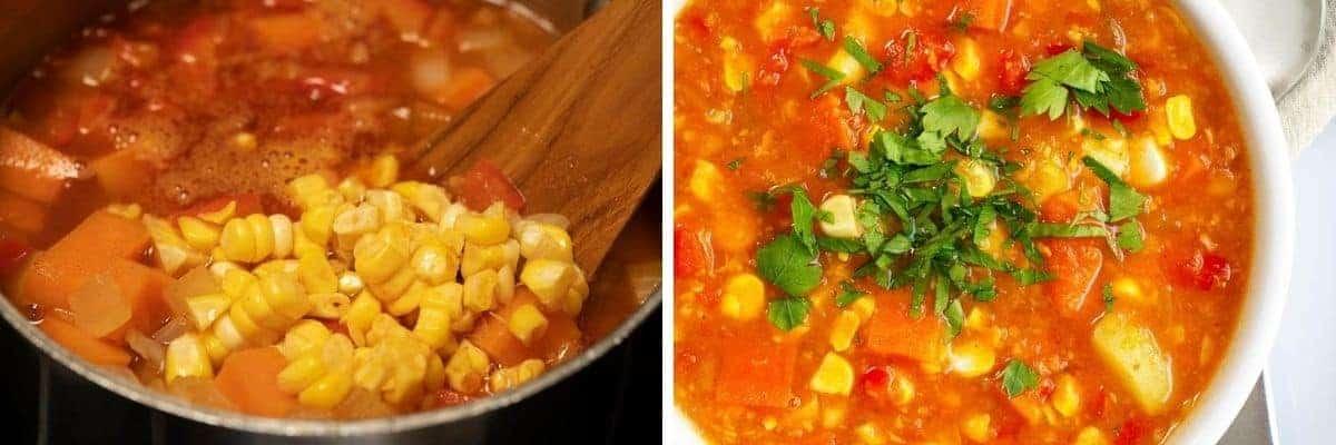 stirring corn into vegan corn chowder and serving