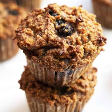 Almond Flour Blueberry Muffins stacked