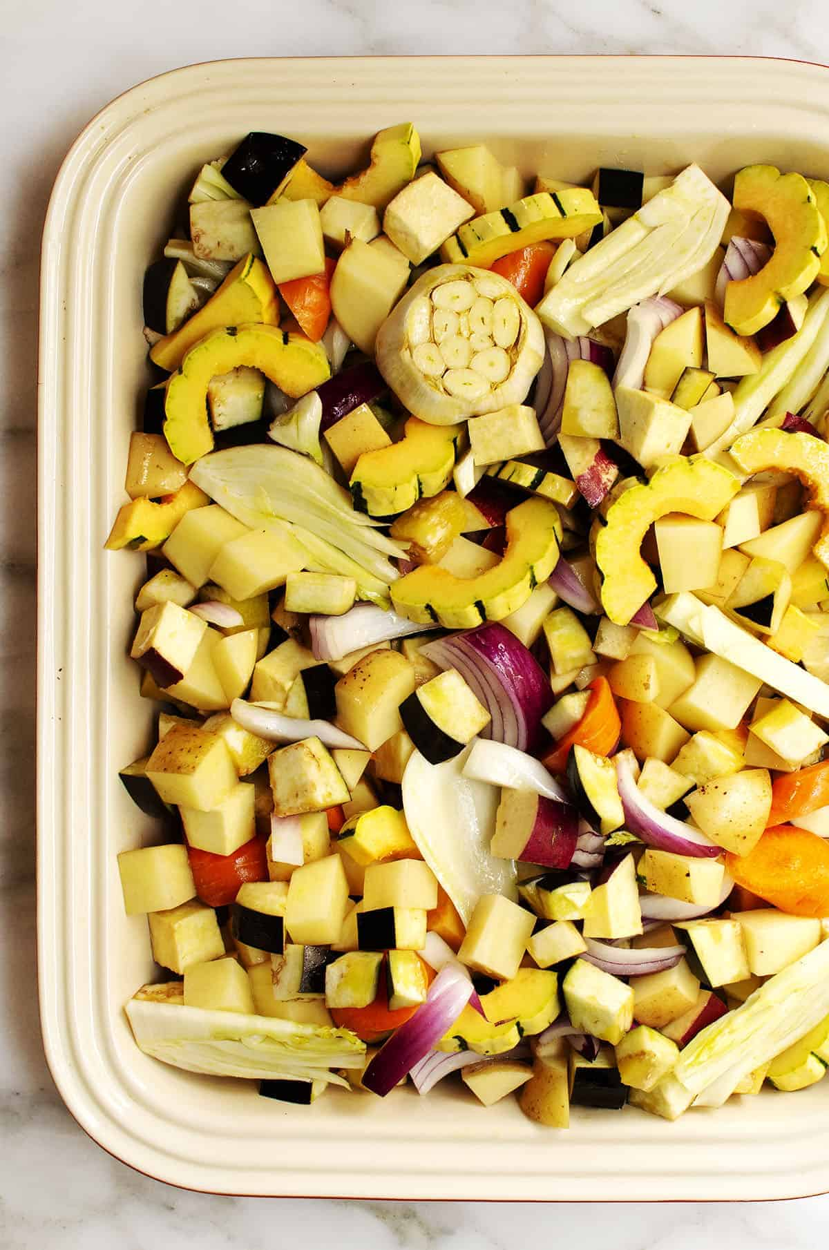 fall vegetables ready to roast