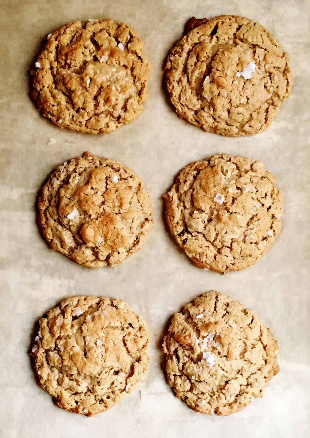 Peanut Butter Oatmeal Cookies on parchment paper