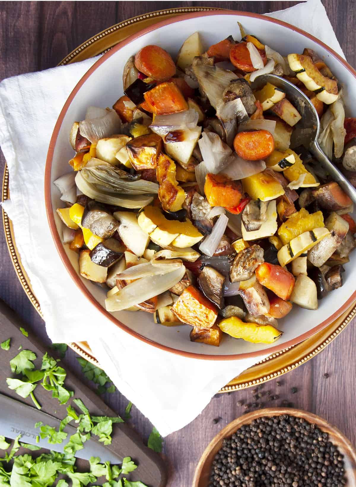 Roasted Fall Vegetables served in a wide shallow white bowl