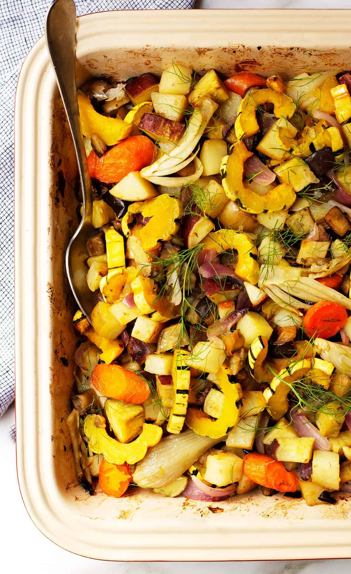 roasted fall vegetables in a baking dish
