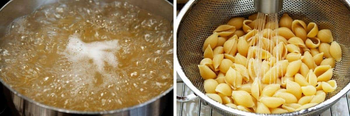 cooking draining and rinsing seashell pasta