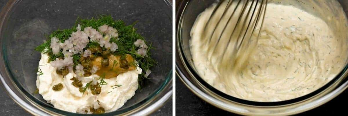 whisking dressing ingredients together for seafood pasta salad