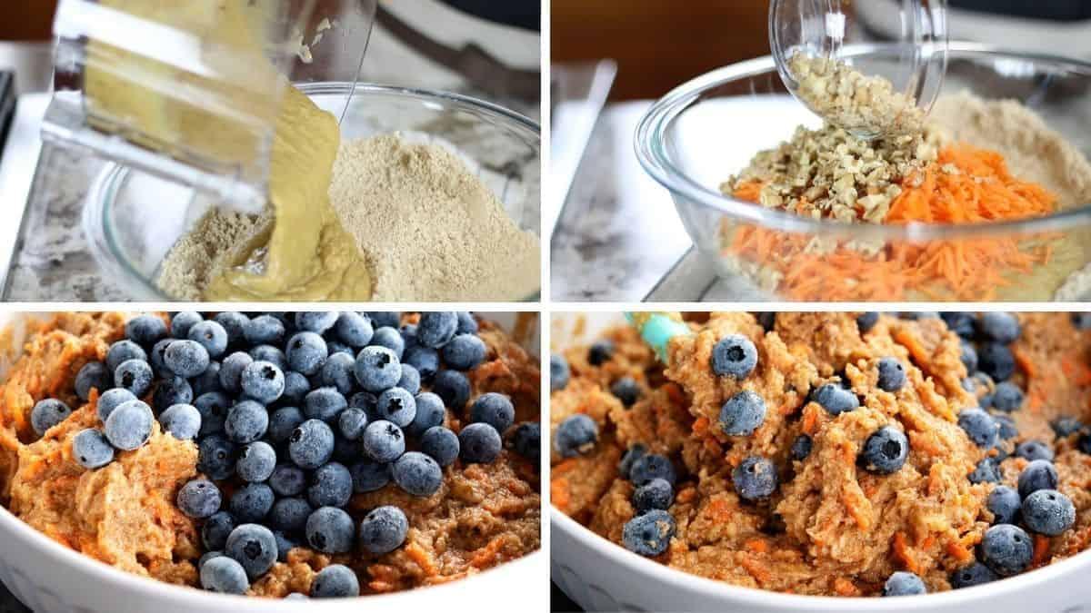 stirring together almond flour blueberry muffin batter ingredients