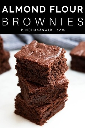 thick almond flour brownies in a stack