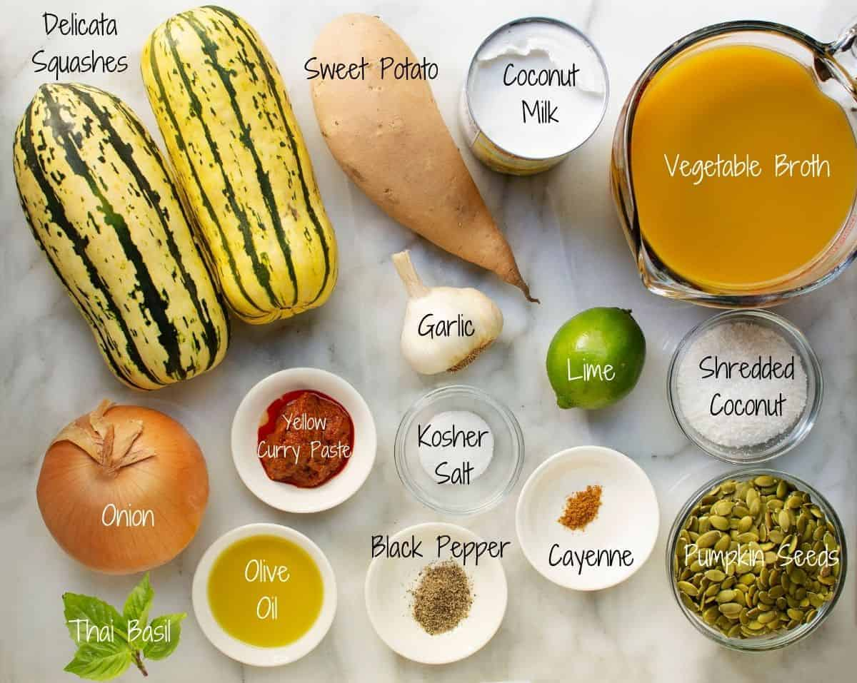 Delicata Squash Soup Ingredients on a white marble board
