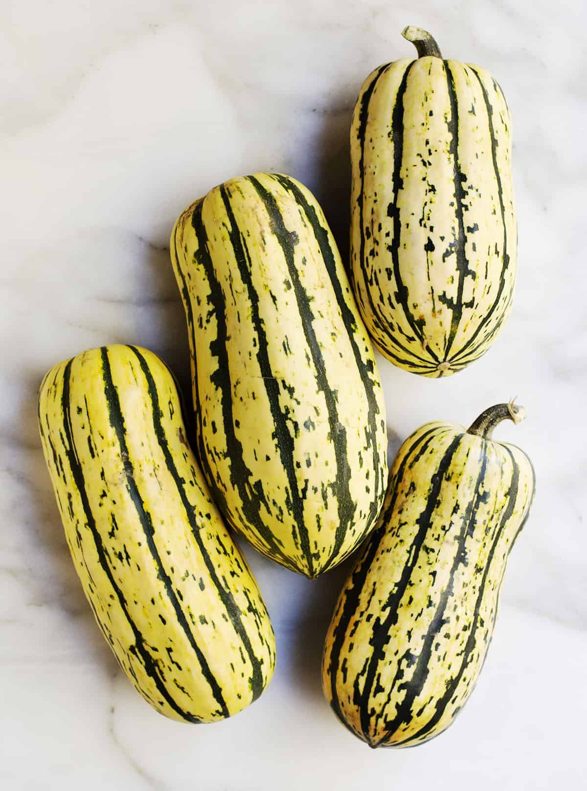 Four Delicata Squashes photographed from above