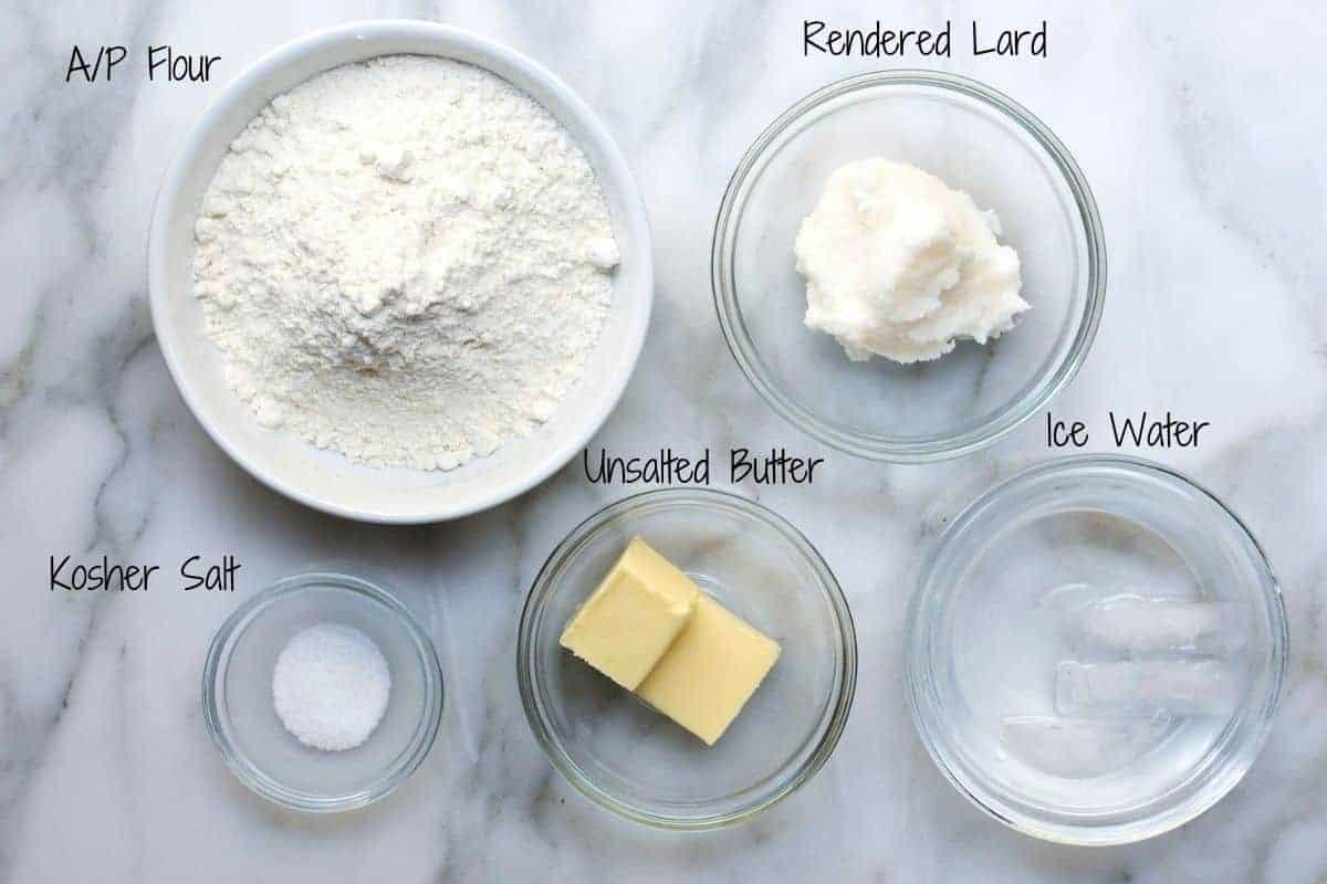 Lard Pie Crust Ingredients on a marble board