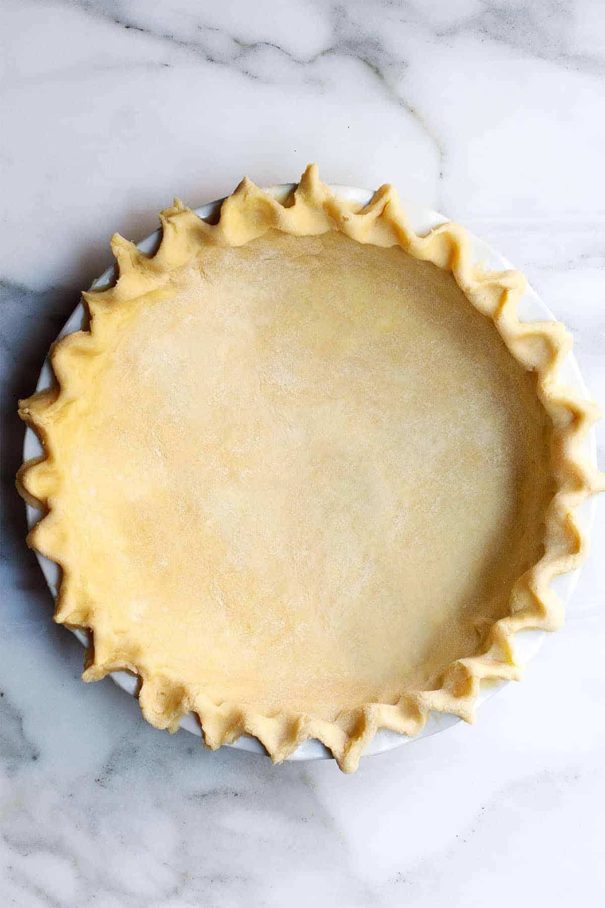 Lard Pie Crust in a pie plate
