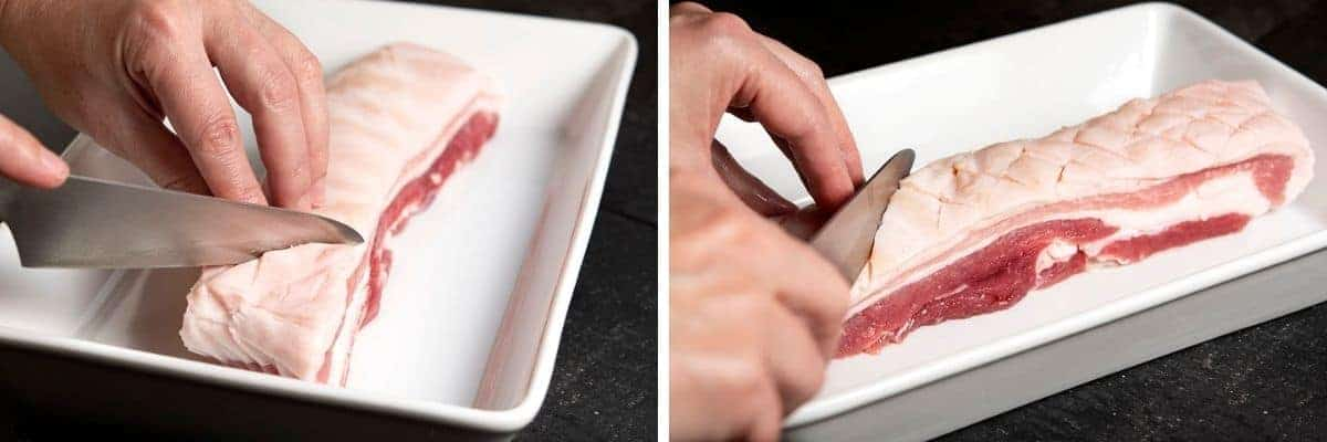 Scoring Pork Belly Skin in a Diamond Pattern