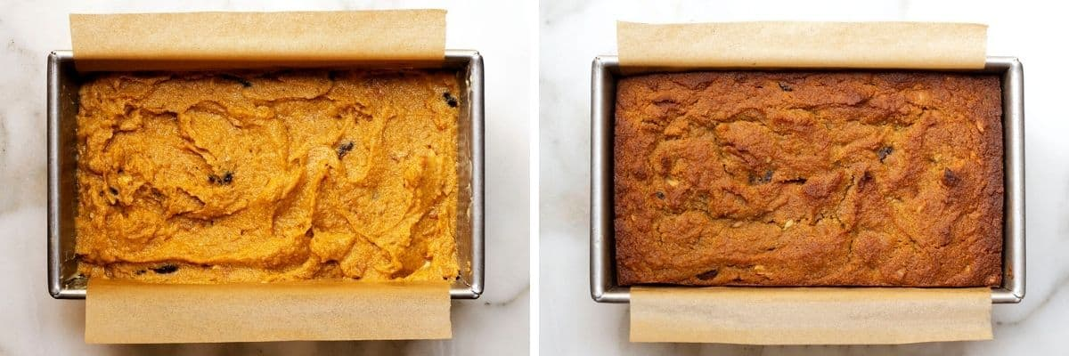 almond flour pumpkin bread before and after baking