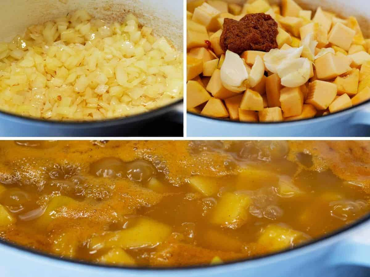 cooking delicata squash sweet potato and aromatics in vegetable broth