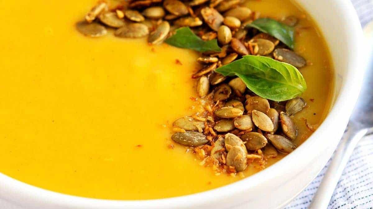 delicata squash soup ready to serve