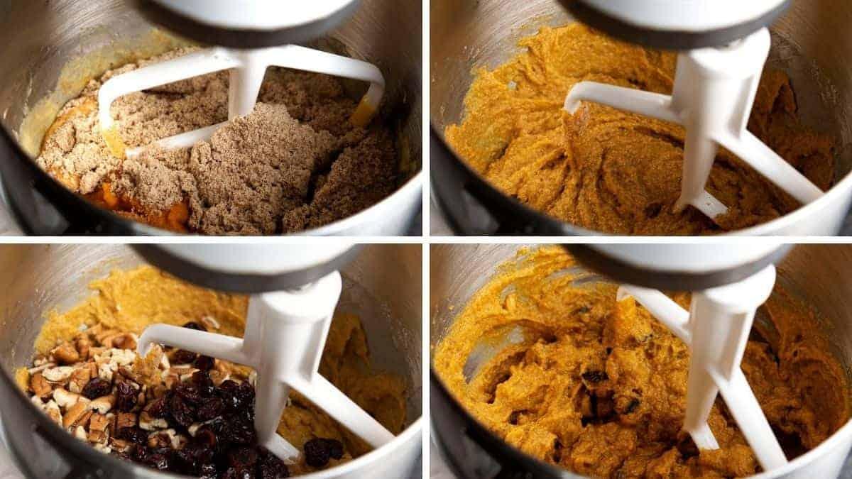 mixing dry ingredients into wet ingredients