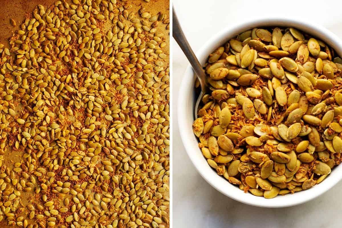 pumpkin seeds and shredded coconut mixture after toasting