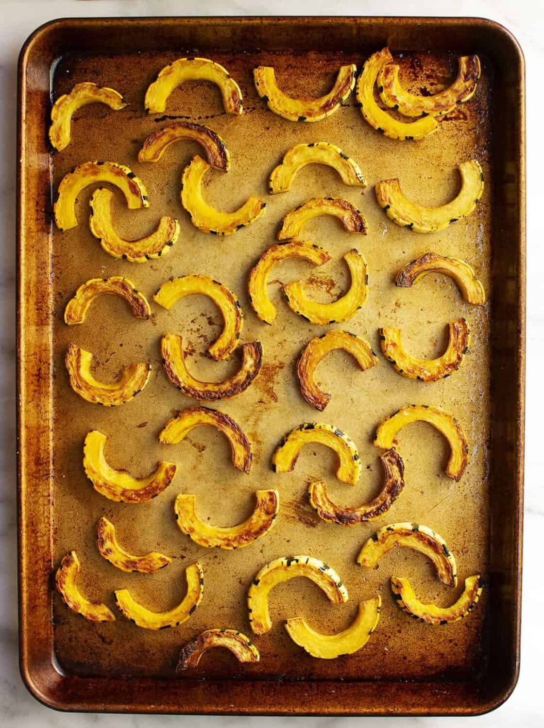 sliced and baked delicata squash