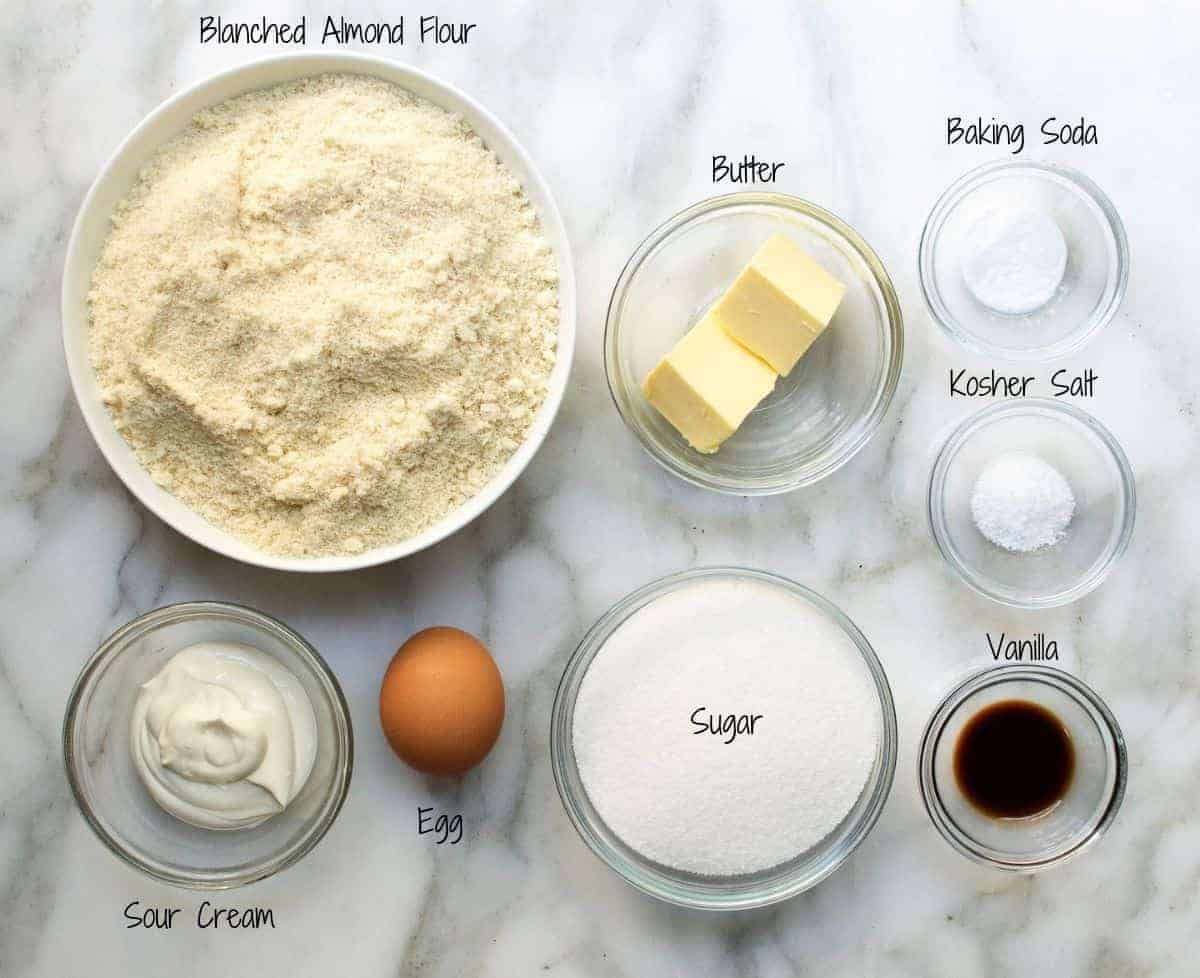 Almond Flour Sugar Cookies Ingredients on a white marble board